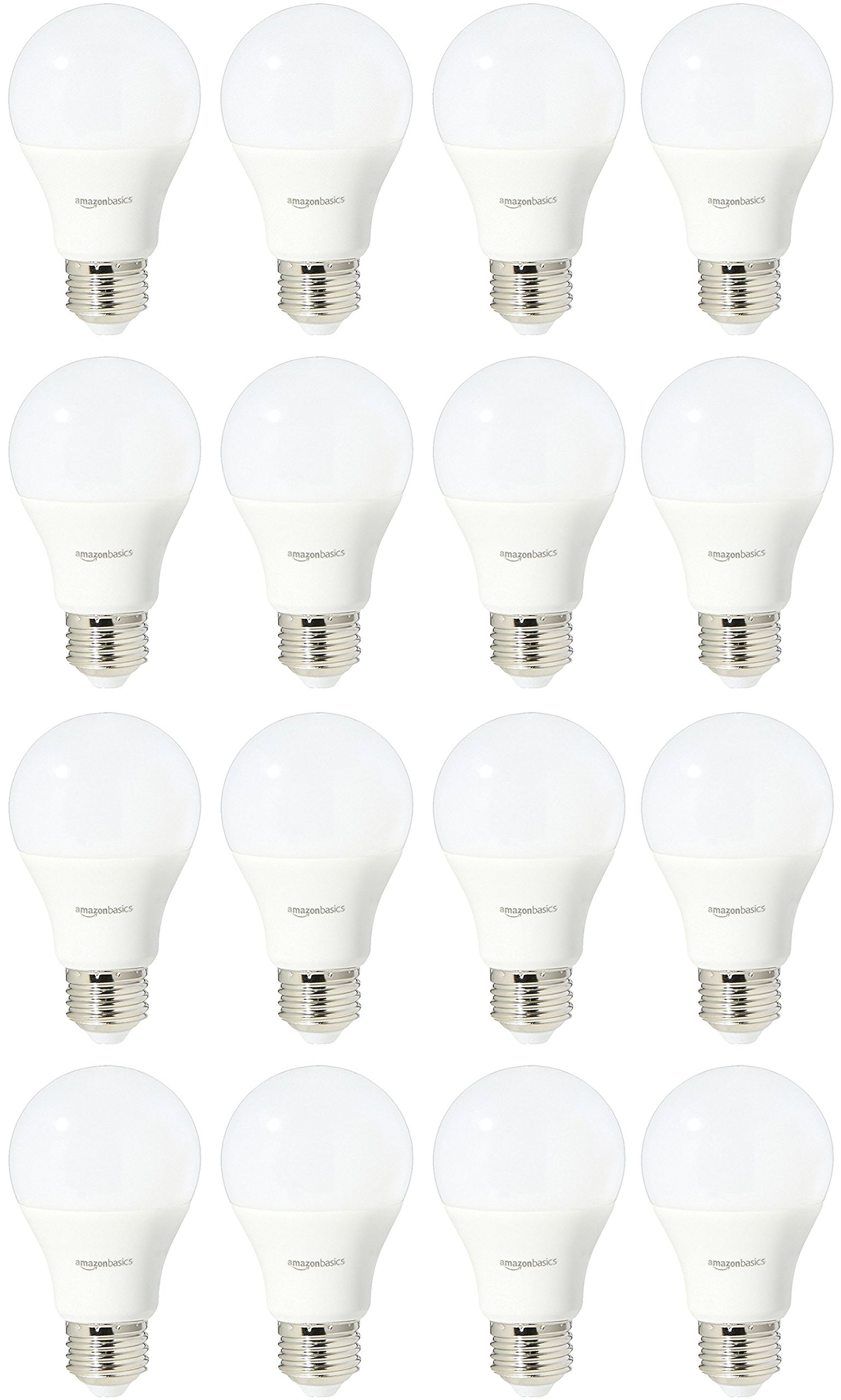 AmazonBasics 60 Watt 15,000 Hours Non-Dimmable 800 Lumens LED Light Bulb - Pack of 16, Daylight