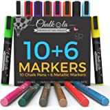 Chalkola Chalk Markers & Metallic Colors - Pack of 16 chalk pens - For Chalkboard, Whiteboard, Window, Labels, Bistro - 6mm Bullet Tip with 8 gram ink