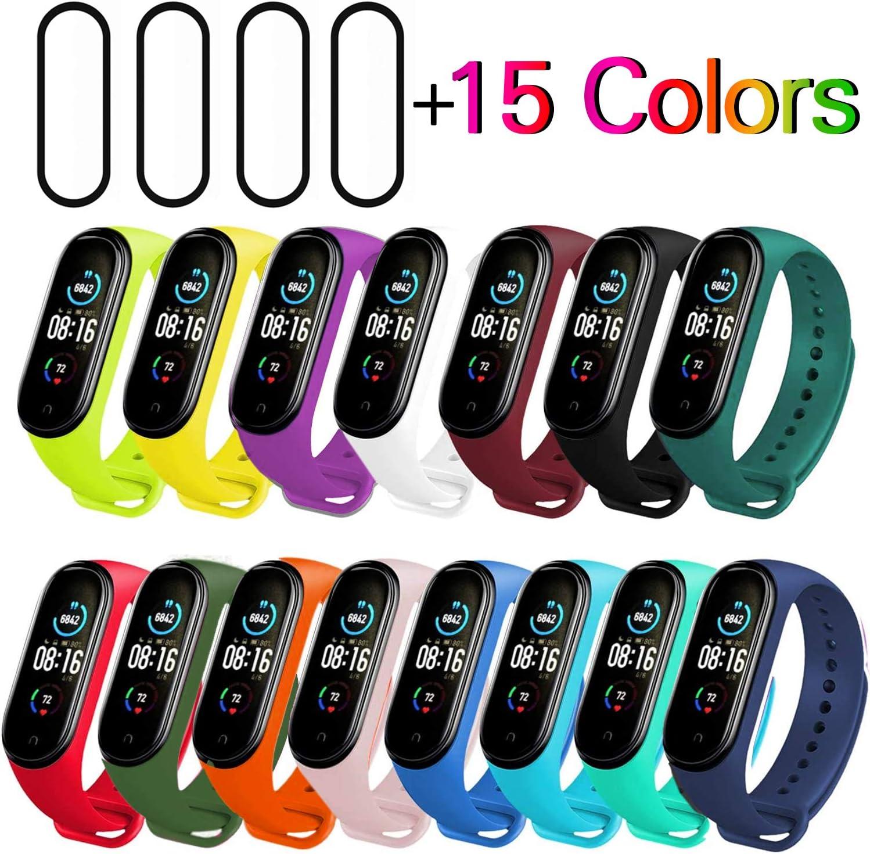 Milomdoi [19 Articulos] 15 Colors Correas + 4 Unidades TPU Protector Pantalla para Xiaomi Mi Band 5, Silicona Correa de Repuesto Suave, Transpirable, Resistente al Sudor-Coloridos