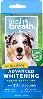 product image for Fresh Breath by TropiClean No Brushing Oral Care Gel for Dogs With Advanced Whitening Formula, 4oz, Made in the USA - Helps Remove Plaque and Tartar and Freshens Breath