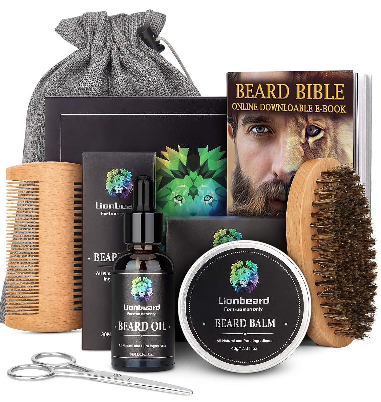 Amazon Com Lionbeard Beard Care Kit For Men Dad Beard Growth Grooming Trimming Beard Oil Conditioner Balm Wax Brush Comb Scissors Xmas Gifts For Him Beauty