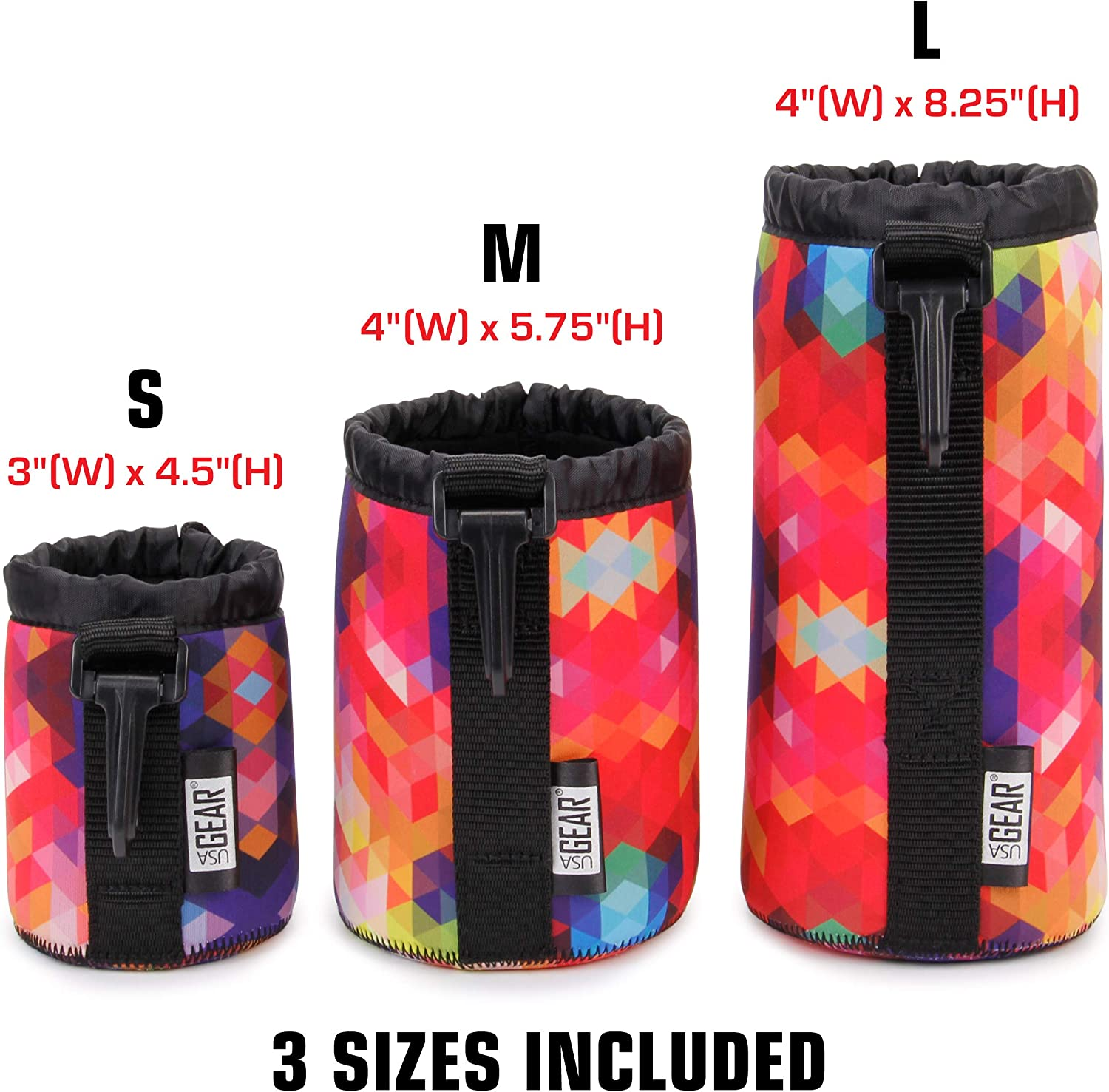 - Small USA GEAR FlexARMOR Protective Neoprene Lens Case Pouch Set 3-Pack Geometric Medium and Large Cases Hold Lenses up to 70-300mm with Drawstring Opening Reinforced Belt Loop Attached Clip