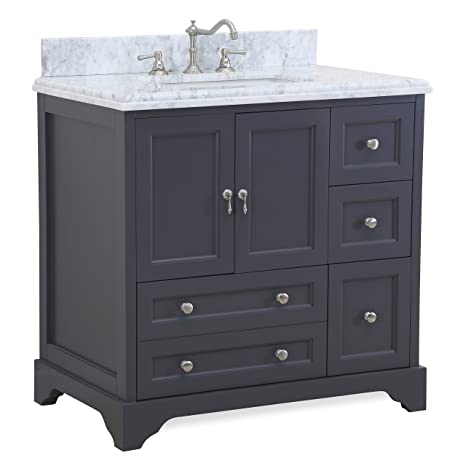 Madison 36-inch Bathroom Vanity (Carrara/Charcoal Gray): Includes Italian  Carrara Marble Top, Charcoal Gray Cabinet with Soft Close Drawers & Doors,  ...