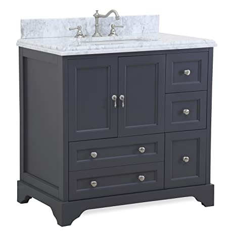 Madison Inch Bathroom Vanity CarraraCharcoal Gray Includes - 36 inch grey bathroom vanity