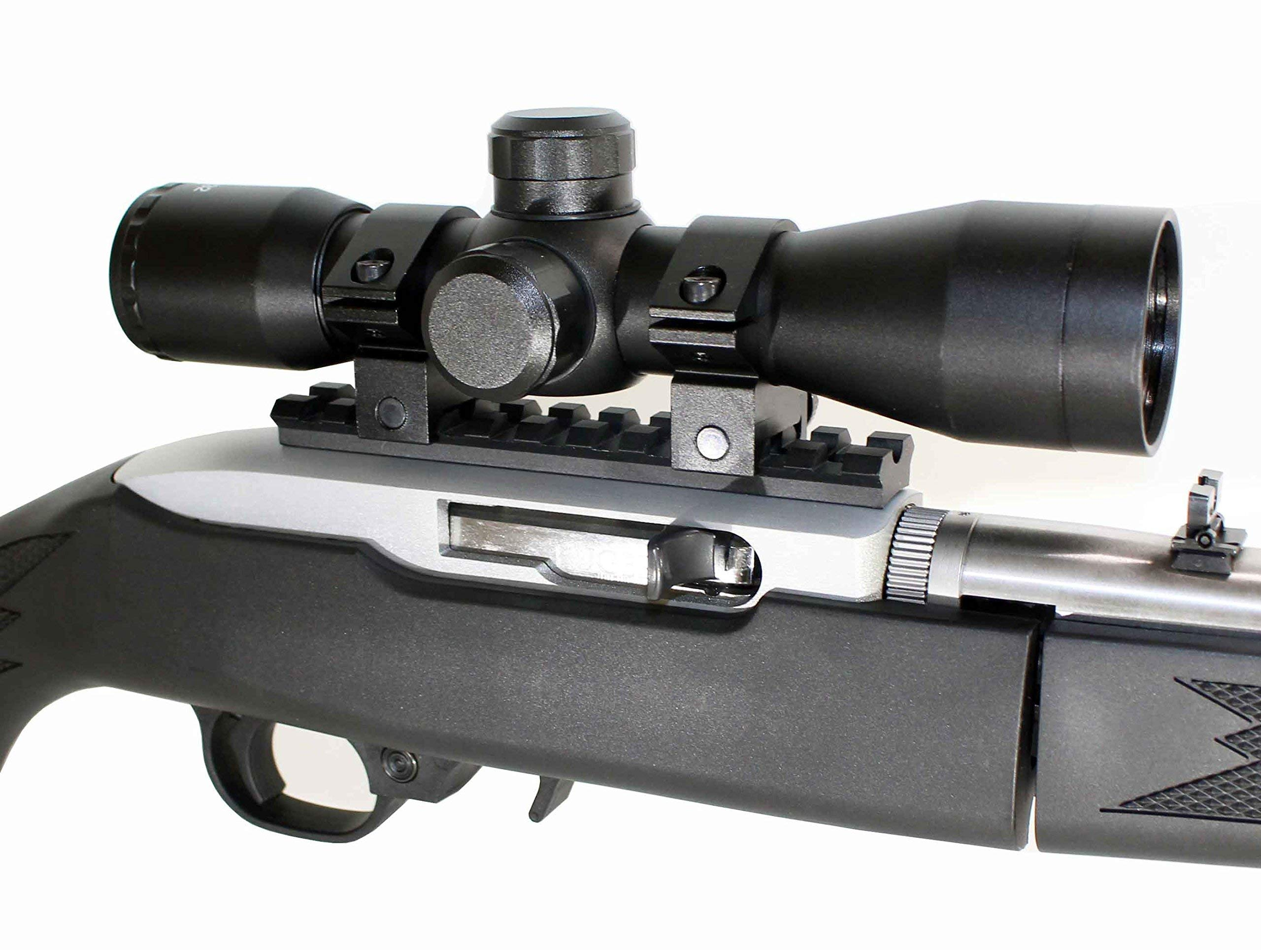 Trinity Ruger 10/22 Combo Kit with 4x32 Scope Rings Rail Mount Base Picatinny Weaver Single Rail Aluminum Black mildot Reticle Hunting Tactical by Trinity