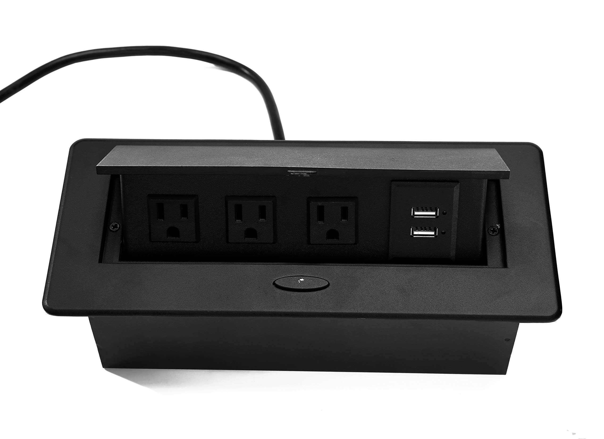 Kungfuking Pop Up Power Cover Box Desktop Socket with Dual USB Charger, Stainless Steel Receptacle Outlet for Conference Room Countertop (Black)