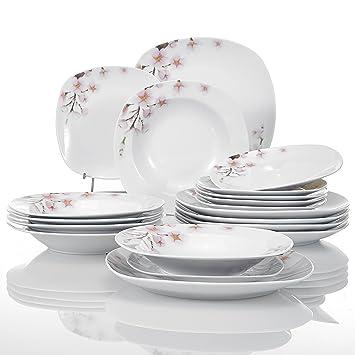 Veweet ANNIE 18pcs Assiettes Pocelaine Service de Table 6pcs Assiettes  Plates 24,7cm, 6pcs 07e42f47e904