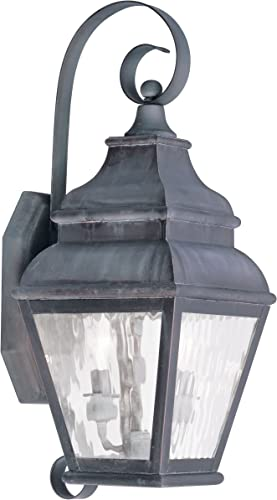 Livex Lighting 2602-61 Exeter 2-Light Outdoor Wall Lantern, Charcoal