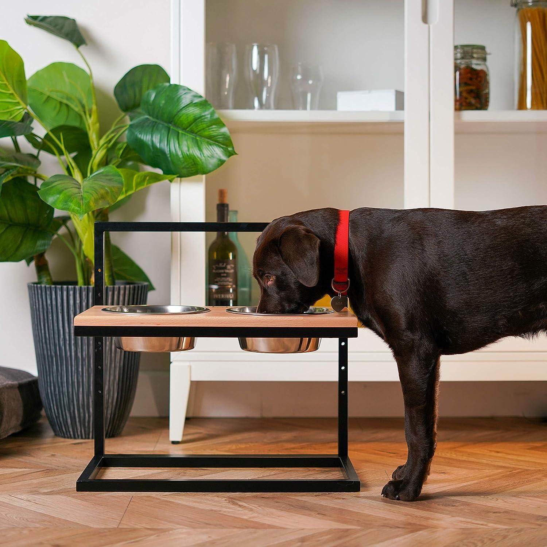 Black Metal Frame Harley and Cho Dog Bowls Elevated Double Dog Feeder Natural Wood