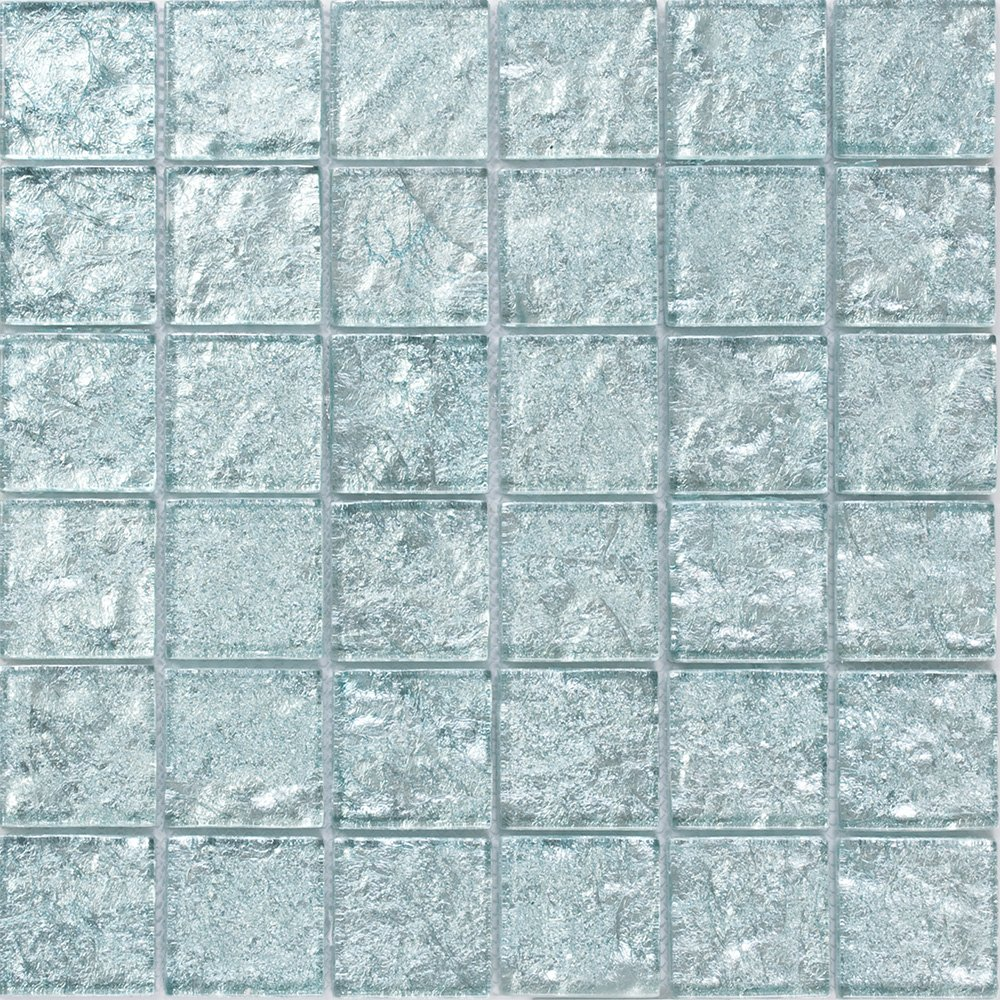 Susan Jablon Mosaics - 2x2 Inch Iced Aqua Steel Blue Metallic Glass Tile