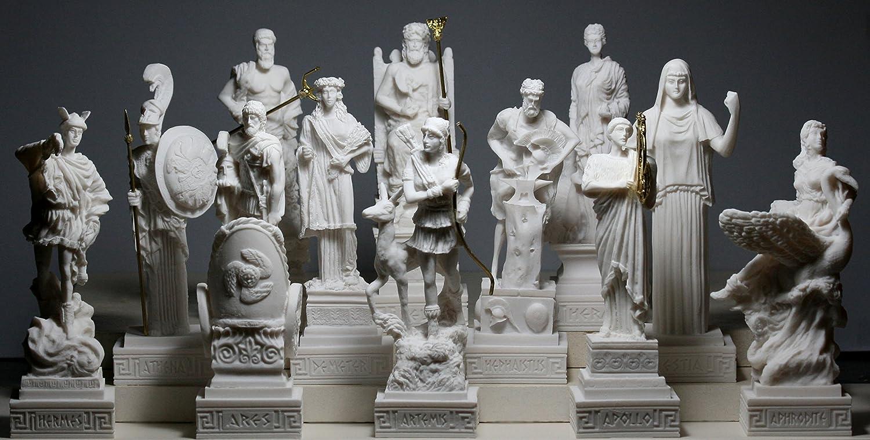 Amazon Com Set 12 Twelve Greek Olympian Gods Pantheon Figure Alabaster Statue Sculpture Home Kitchen