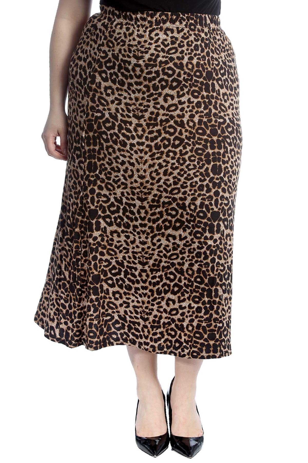 Nouvelle Collection Leopard Print Mid Calf Skirt Brown 20 by Nouvelle Collection (Image #1)