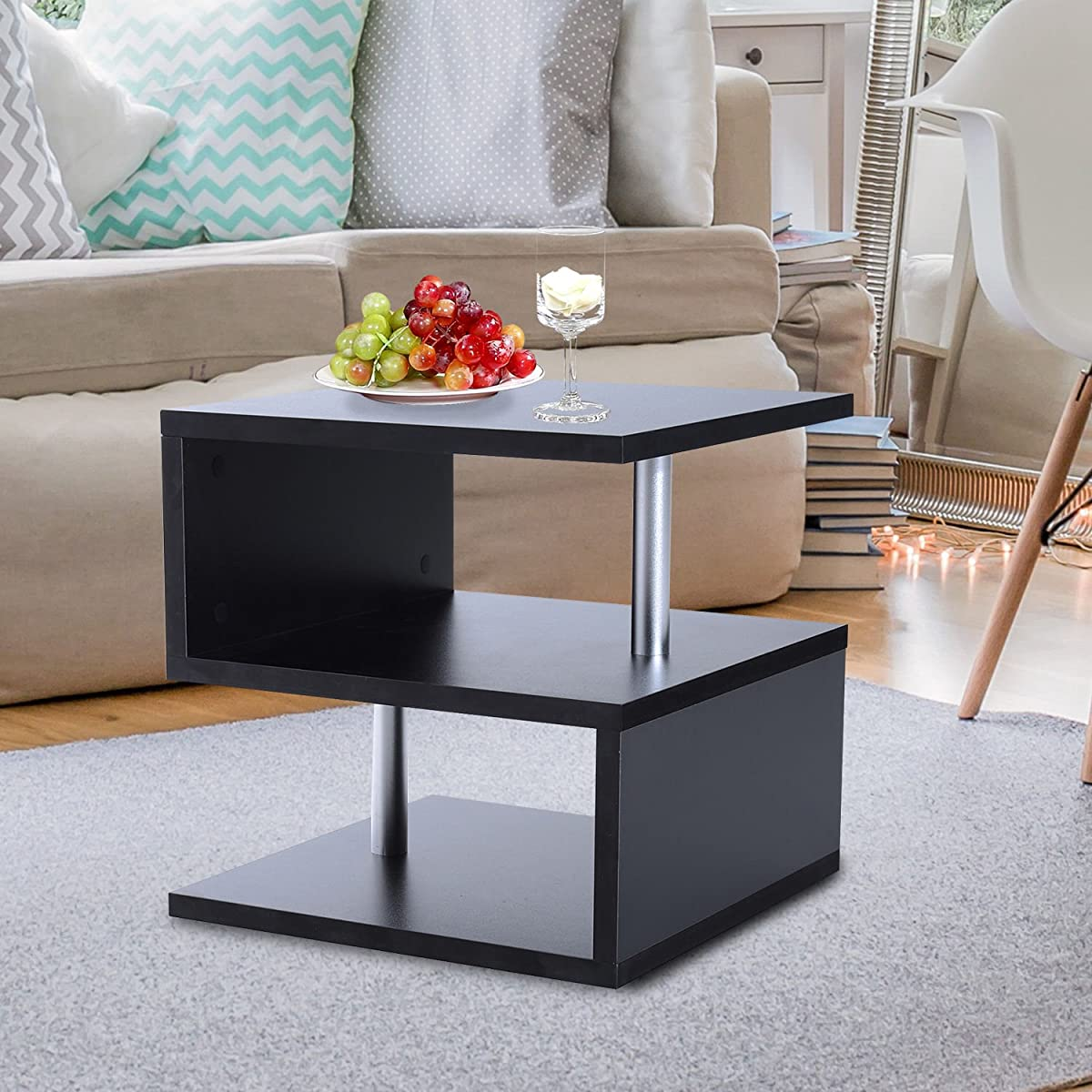 HomCom Modern Contemporary Multi Level S-Shaped End Table (Black)