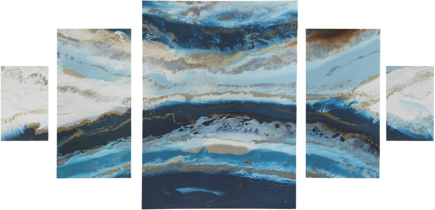 Madison Park Midnight Tide Blue Wall Art-Ocean Shore Beach Landscape Print on Deco Box Modern Abstract Stretched 5 Piece Set Canvas Painting Living Room Décor