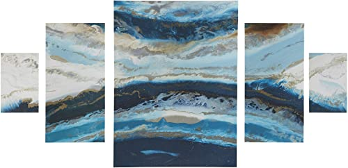 Madison Park Midnight Tide Blue Wall Art-Ocean Shore Beach Landscape Print on Deco Box Modern Abstract Stretched 5 Piece Set Canvas Painting Living Room D cor