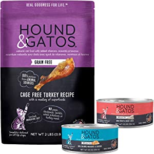 HOUND & GATOS Grain Free Wet & Dry Cat Food Combo Pack – Cage Free Turkey Dry Food (2 lb Bag), Wet Food (2 – 5.5 oz cans), and Can Topper