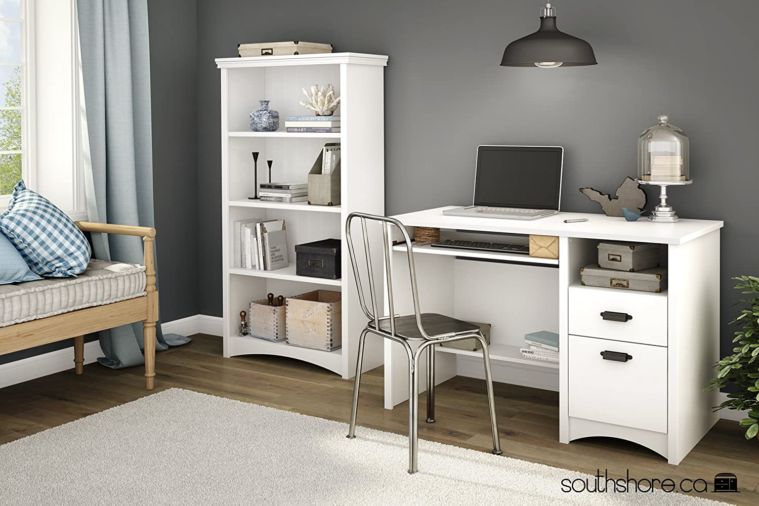 Amazon.com: South Shore Gascony Computer Desk With Keyboard Tray, Pure  White: Kitchen U0026 Dining