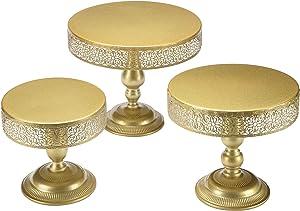 Hotity 3-Set Cake Stands Round Cake Stand Set Modern Cupcake Dessert Display Stand, Gold