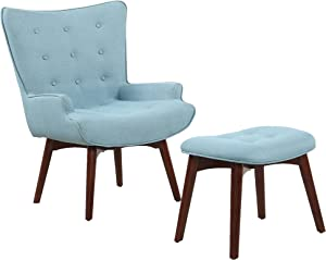 Best Master Furniture West Palm Mid-Century Accent Chair with Ottoman Set, Regular, Capri