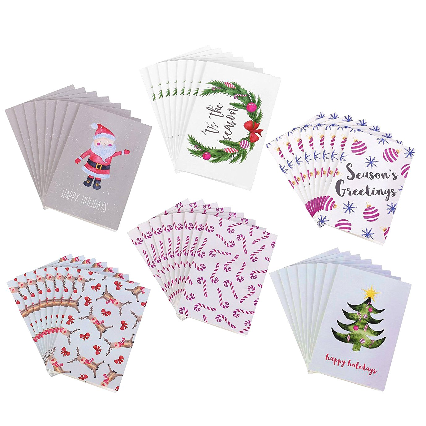 Amazon 48 Pack Holiday Greeting Cards 6 Christmas Designs