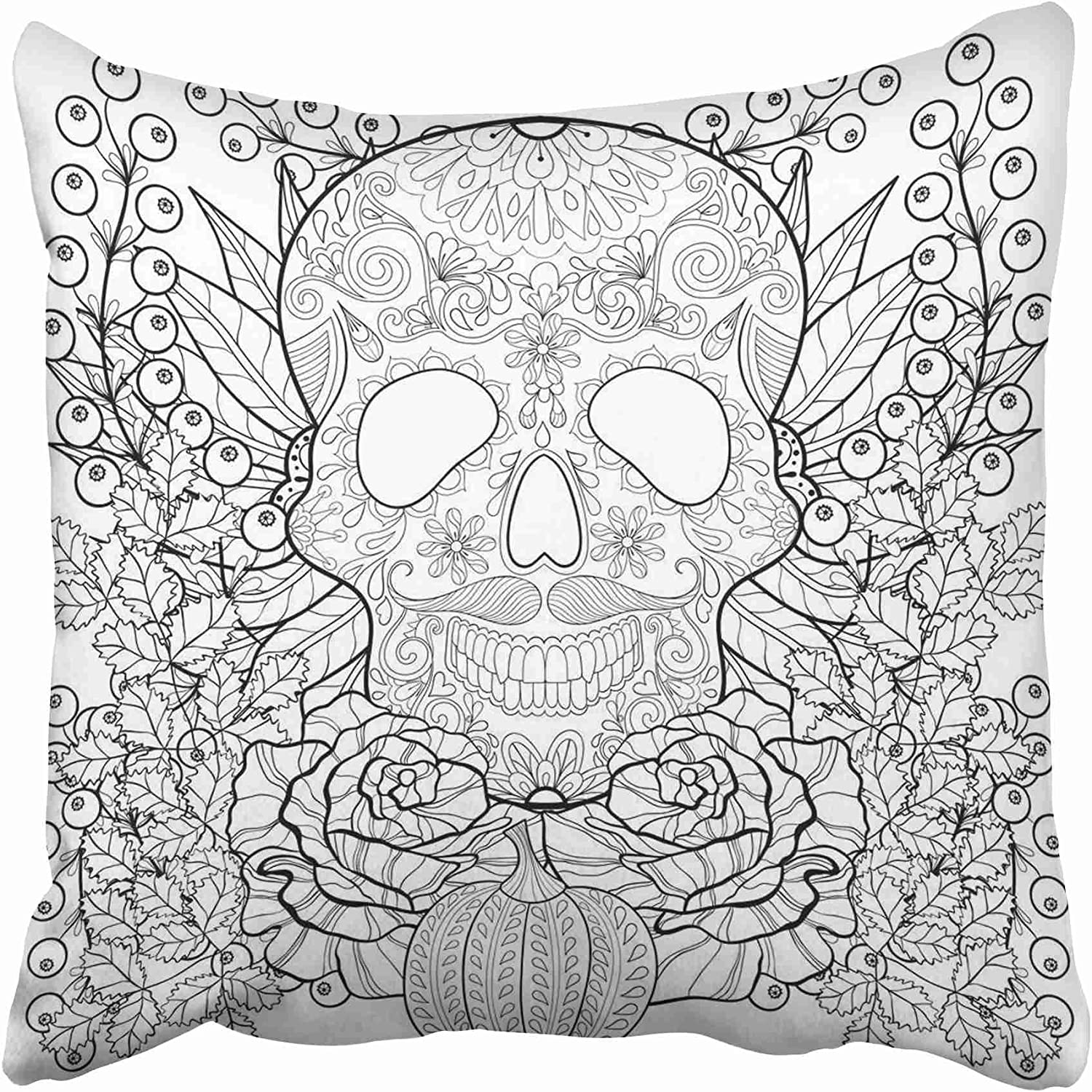 Amazon Com Emvency Zentangle Skull With Pumpkin Rose Sunflower For Halloween Freehand Sketch For Adult Coloring Page Throw Pillow Covers 20x20 Inch Decorative Cover Pillowcase Cases Case Two Side Home Kitchen