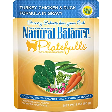 Natural Balance Platefulls Grain Free Cat Food, 3 Ounce Pouches (Pack Of 24) Turkey, Chicken & Duck Formula In Gravy by Natural Balance