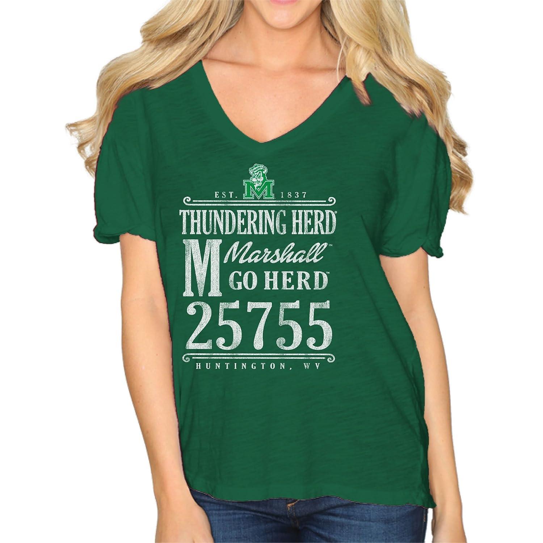 Original Retro Brand NCAA Marshall Thundering Herd Womens Slub V Neck Tee Green Medium