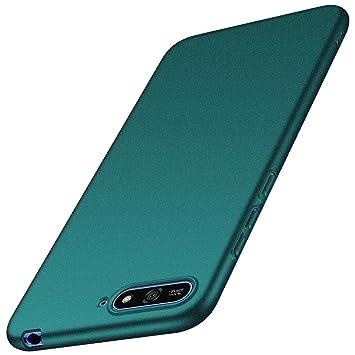 anccer Funda Huawei Y6 2018 [Serie Colorida] [Ultra-Delgado] [Ligera] Anti-rasguños Estuche para Carcasa Huawei Y6 2018 (Grava Verde)