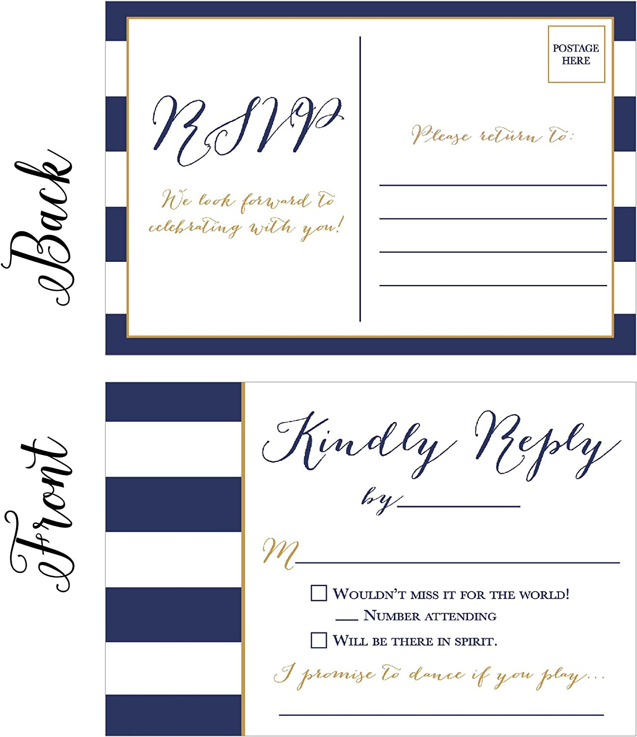 Amazon Com 50 Navy Rsvp Cards Rsvp Postcards No Envelopes Needed Response Card Blank Rsvp Reply Rsvp For Wedding Rehearsal Dinner Baby Shower Bridal Birthday Engagement Bachelorette Party Invitations Office Products