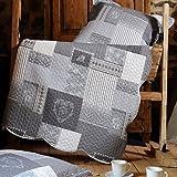 Lovely Casa Arkansas Boutis 240X220+2Taies Polyester Gris 220 x 240 cm