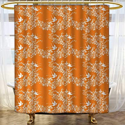 Anhounine Orange Shower Curtains Fabric Extra Long Asian Style Spring Meadow Pattern With Branches In Full