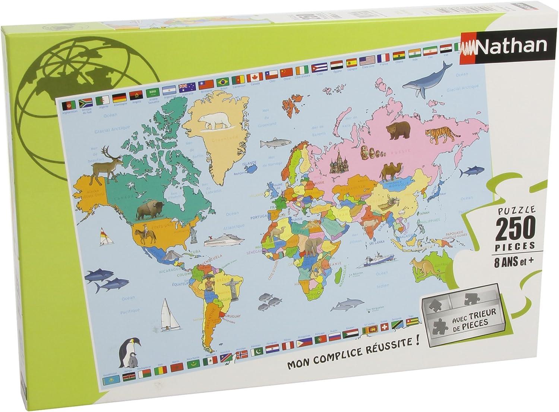 Nathan 250 Pi/èces Puzzle Enfant Classique Carte du Monde 86935