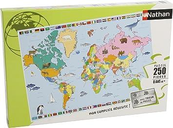Nathan 86935- Puzzle Infantil Mapamundi (250 Piezas): Amazon.es: Juguetes y juegos