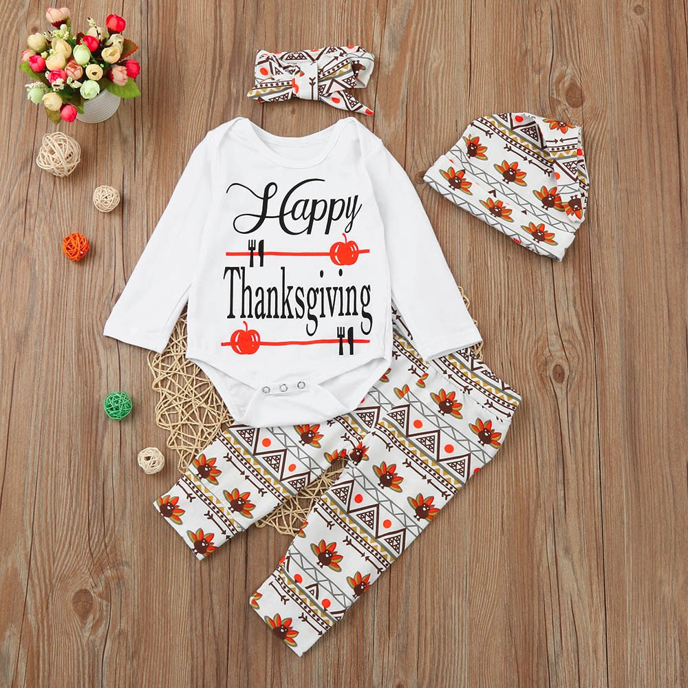 Sunbona 4pcs Thanksgiving Set Outfits Infant Baby Boys Girls Print Long Sleeve Romper+Pants+Hat+Headband Clothes