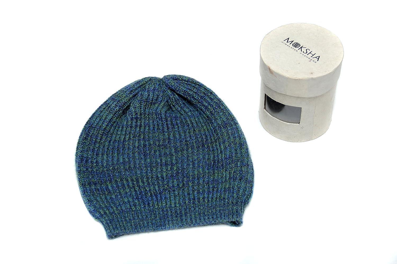 Green mix /© Moksha Cashmere 100/% Cashmere Beanie Knitted Mongolian 26//2 Yarn Cashmere Beanie