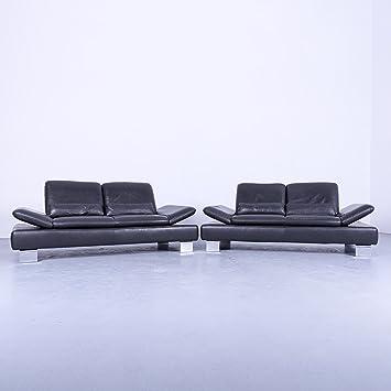 Willi schillig Designer piel sofá Antracita Gris Oscuro 2 ...