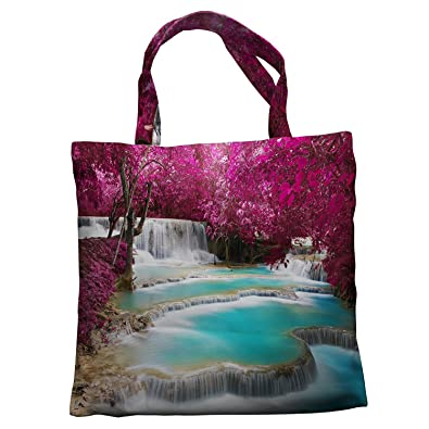 b79179819c Amazon.com  Custom Turquoise waterfall mountain in Forest Jungle Nature  Scenery Canvas Shoulder Bags Handbags Tote Bags Shopping Bag  Shoes