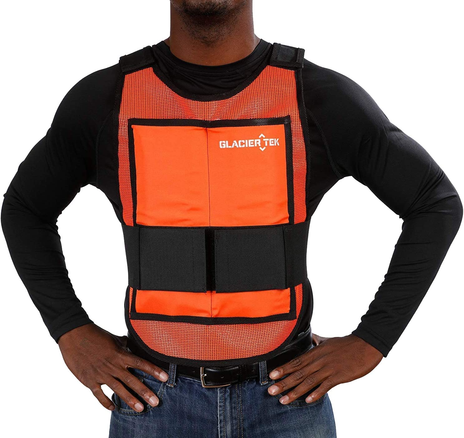 Glacier Tek Classic Cooling Vest with Set of 8 Nontoxic Cooling Packs