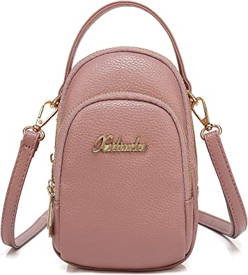Small Crossbody Purse for Women,3 Layers PU Leather Zipper Around Cell Phone Purse Crossbody Bag Smartphone Wallet for Women