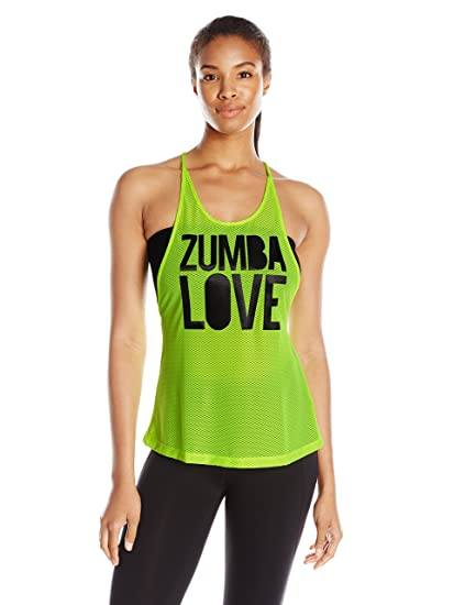Zumba Fitness Love Mesh - Camiseta sin mangas para mujer, color amarillo (caution)