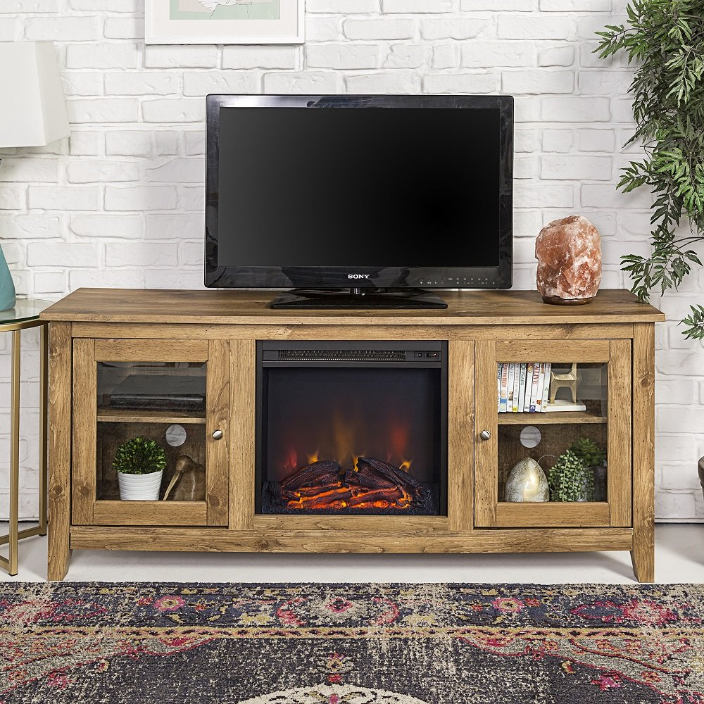 New 58 Inch Wide Television Stand with Fireplace in Barnwood Finish
