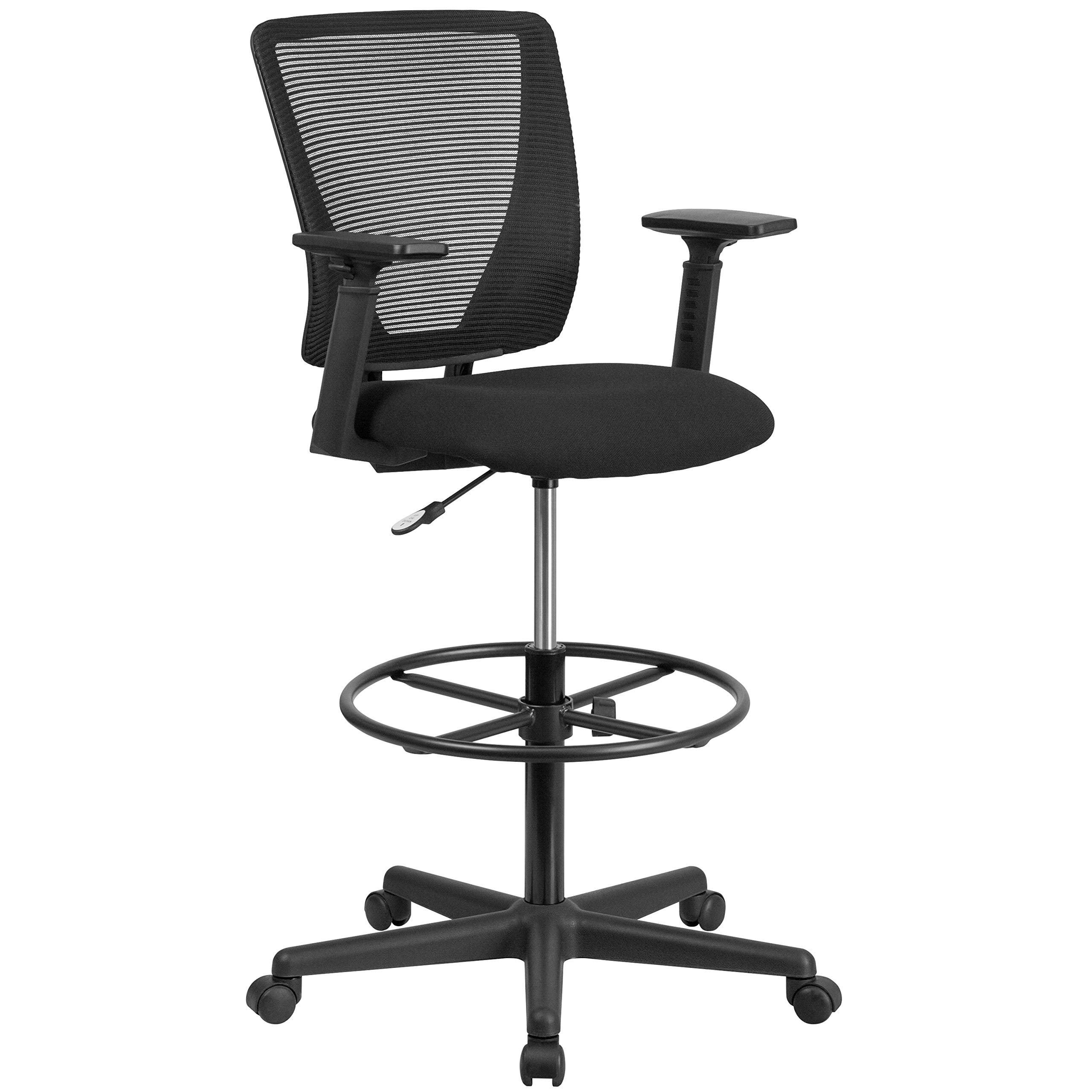Flash Furniture Ergonomic Mid-Back Mesh Drafting Chair with Black Fabric Seat, Adjustable Foot Ring and Adjustable Arms by Flash Furniture