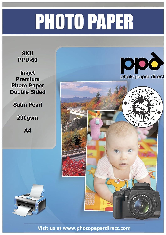 PPD Premium Pearl, Papel fotográfico con 290 doble caras brillante, 290 con gsm, A4, 50 Hojas 668dc6