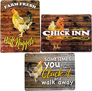 Chicken coop Signs| 3PACK, 8X12 Aluminum tin Chicken Signs | Chicken coop Supplies | Chicken Accessories for coops | Chicken Coop Decor | Chicken coop Accessories, Metal Chicken Signs