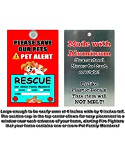 Aluminum Metal Pet Alert Fire Rescue - PLEASE SAVE OUR PETS! - Dog & Cat Lying Down Design - Made in and Ships from Cornwall, Ontario, Canada.