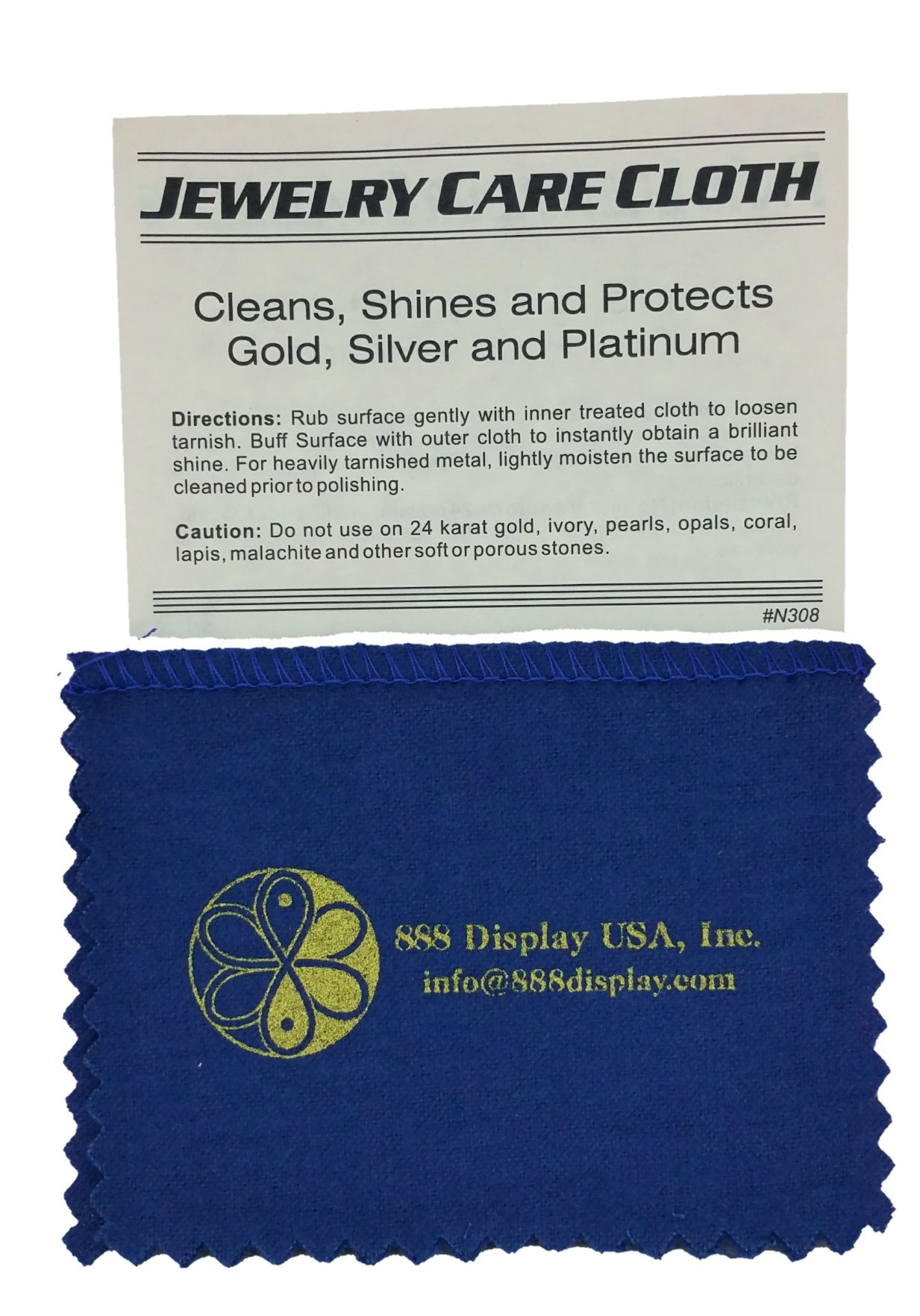 2-Pack of Polishing Cloth for Silver, Gold, Brass & Most other Metals, 4''x6'' Pocket Size by 888 Display®