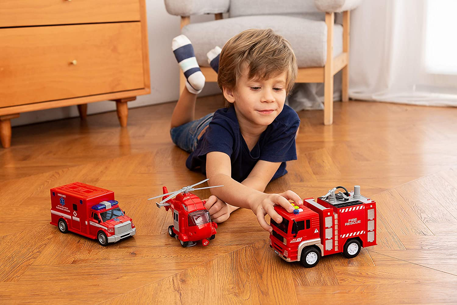 Ambulance Joyin 3 in 1 Friction Powered City Fire Rescue Vehicle Truck Car Set Including Helicopter with Light and Sound and Fire Engine