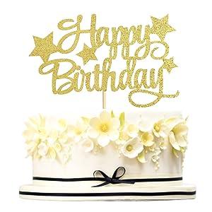Keaziu Gold Happy Birthday Star Cake Topper Pentacle Birthday Party Cake Decoration Birthday Decor Supplies