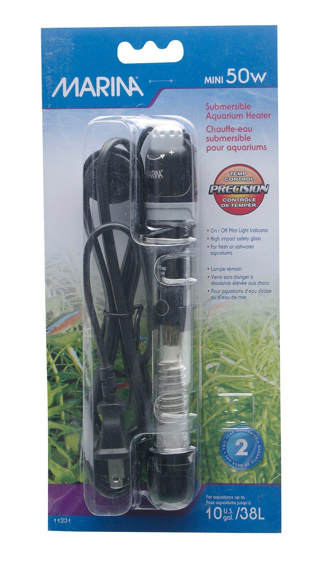 Fluval Marina Submersible Heater for Aquarium, Mini, 50-watt