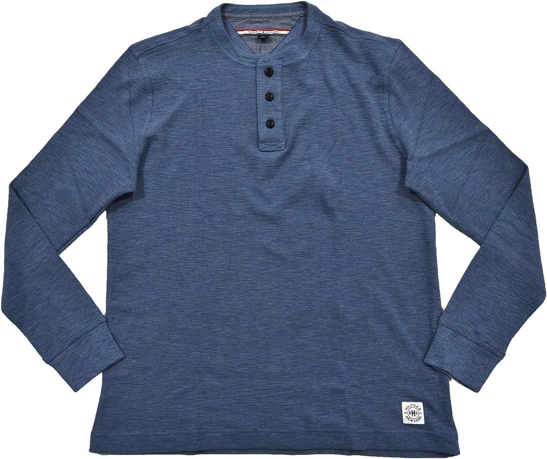Tommy Hilfiger Shirt Mens Knit Henley Long Sleeves 3 Button Placket Flag Logo
